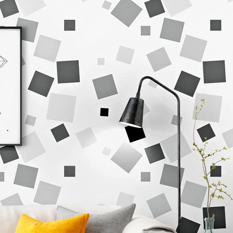 Modern Minimalist Black And White Lattices PVC Wallpaper Living Room Bedroom TV Background Clothing Hairdressing Stores Waterpro