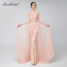 Elegant Evening Dresses Blush Dubai Arabic Tulle Beads Vestido Applique Formal Sleeveless Party Gown Women Robe De Soiree LSX576