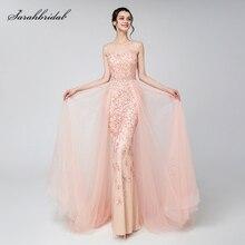 우아한 이브닝 드레스 블러쉬 두바이 아랍어 얇은 명주 그물 비즈 Vestido Applique 정장 민소매 파티 가운 여성 로브 드 Soiree LSX576