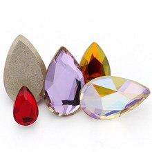 20 pçs cola em pregos strass flatback pedras soltas para sacos de roupas forma gota fantasia pedras k9 cristais de vidro strass