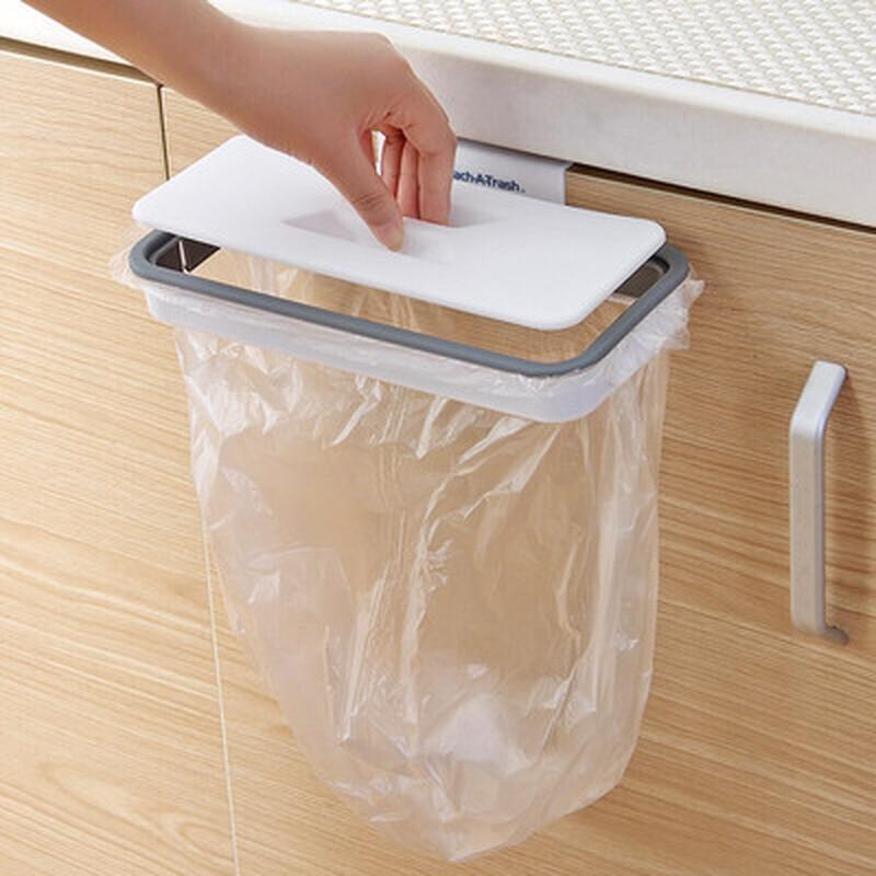 Cupboard Bathroom Trash Holders Trash Bag Holder Storage Rack with Lid Wall mounted Holder Kitchen Supplies