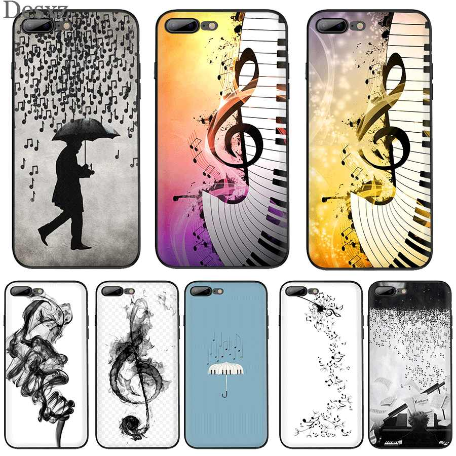 Capa para iphone 7 8 6s plus iphone 11 pro xr x xs max capa de luxo piano guitarra música bonito
