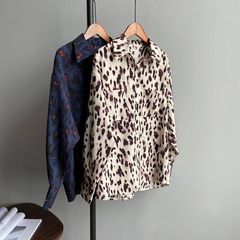 Vintage Leopard Women Loose Blouse 2020 Spring Summer Casual Streetwear Long Tops Chic Button Chiffon Women Basic Shirts