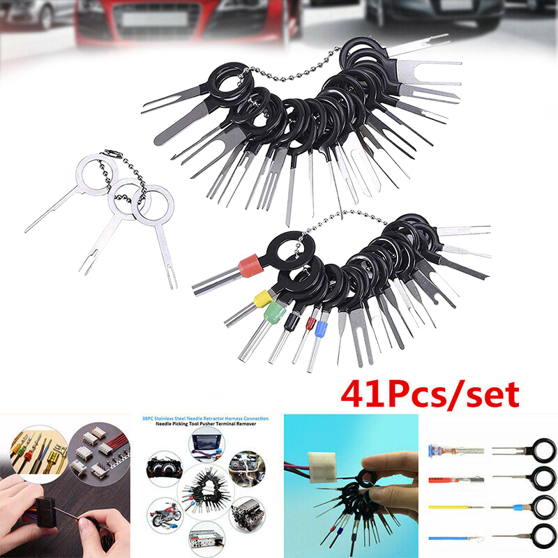 Wire Connector Terminal Pin Release Key Extractors for Car Connector and Other Household Devices 41 Pieces Terminal Removal Tool Kit