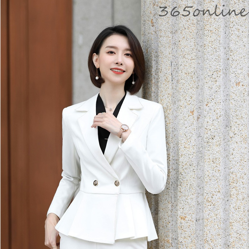 High Quality Fabric Novelty White Formal OL Styles Casual Long Sleeve Blazers Jackets Coat For Women Autumn Winter Outwear Tops