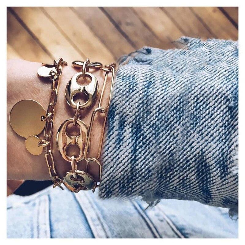 VAGZEB New 30 Styles Gold Color 3pcs/set Punk Vintage Coin Pendant Bracelets Set for Woman
