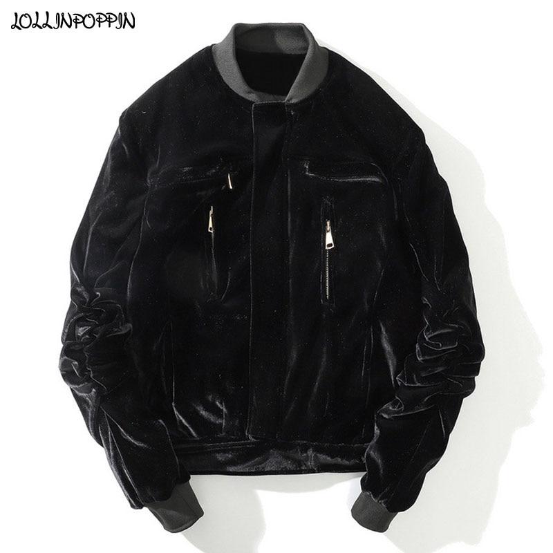 High Street Men Velvet Bomber Jacket Stand Collar Zippered Pockets Hip Hop Mens Quilted Velour Coat Ruched Elastic Sleeves