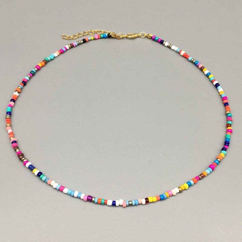 Простые бусы из бисера, женское ожерелье из бисера, Короткое женское ожерелье, ювелирное изделие, 16 дюймов, колье, подарок Колье      АлиЭкспресс - Топ аксессуаров с Али