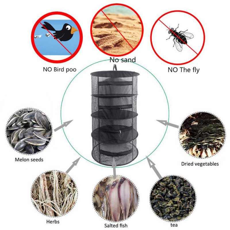 Rede de secagem dobrável com design de zíper de vedação pode efetivamente evitar moscas e aves para garantir alimentos limpos e saudáveis