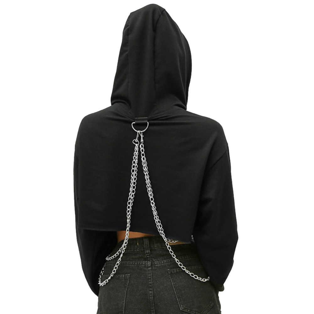 נשים משובץ מזדמן סווטשירט Streetwear הסווטשרט יבול למעלה Jumper סוודר שרשרת תפרים קצר רופף סווטשירט משובץ חולצה