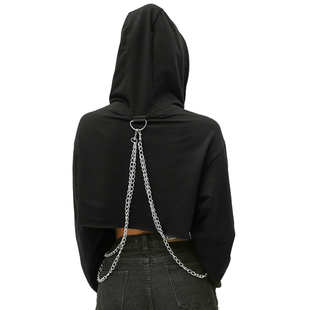 Streetwear Cropped Hoodie with Chains for women