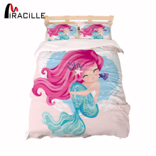 Miracille Pink Mermaid Bedding Set Cartoon Cute Printed Duvet Cover Sets Bedclothes 3pcs for Adults Kids Home Textiles Dropship