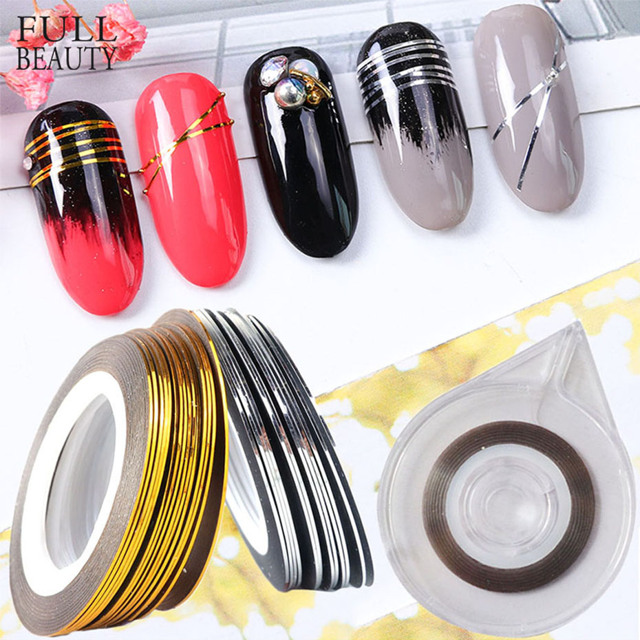 0.5mm Gold Silver Striping Tape Line Stickers On Nails Storage Container All For Manicure Nail Art Decorations Tool CH1009-2