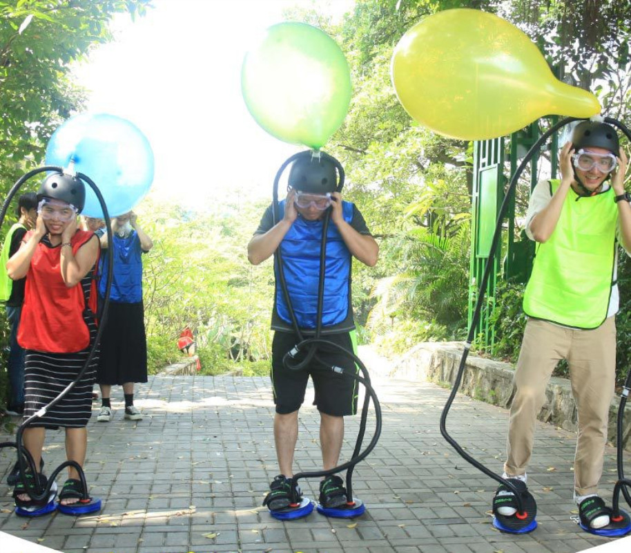 Large Games Big Balloon Boom 2 Feet Pump 5 Balloons 1 Goggles Funny Wedding Party Games Company Team Building Toys Outdoor Toy