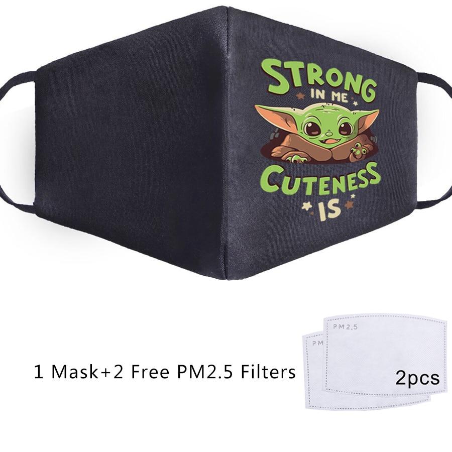 Baby Yoda The Mandalorian Star Wars Child Yoda Masks Patten Printed Face Mouth Mask Unisex Mouth Muffle PM2.5 Filter Fabric Mask