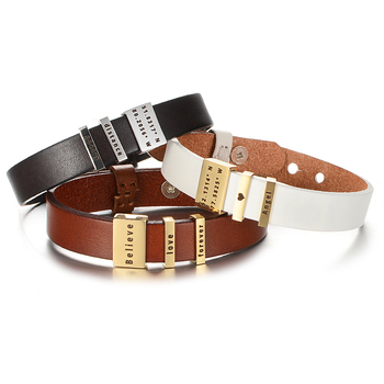 3 Colors Customized Coordinates Engrave Name Bracelet Stainless Steel Personalized Accessories Genuine Leather Men Woman Bangle