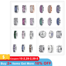 100% 925 Sterling Silver Beads Charm Shining Elegance Clips Pave CZ Charms Fit Original Pandora Bracelets Women Diy Jewelry