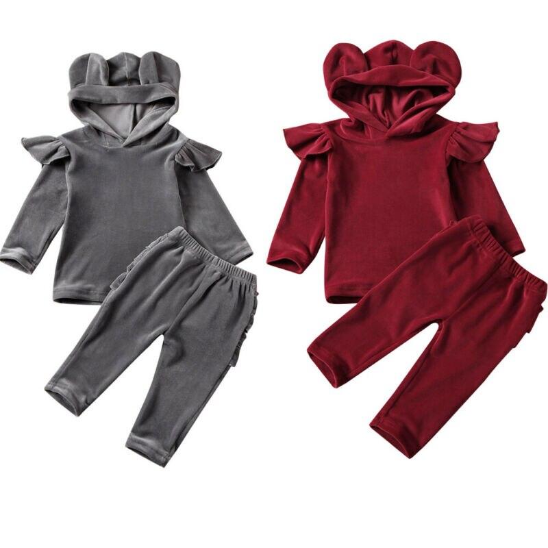 Tracksuit Sweatshirt Clothing-Set Hood Velvet Girls Winter Crushed Thick 1-6-Years