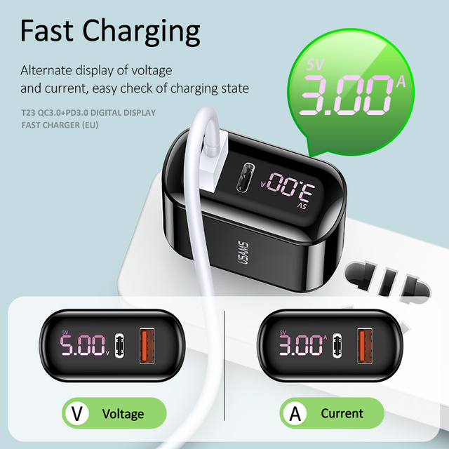 USAMS Quick Charge 3.0 USB Charger for iPhone LED Display Type-C PD QC 3.0 Fast Charger for Samsung Xiaomi Mobile Phone Charger 2