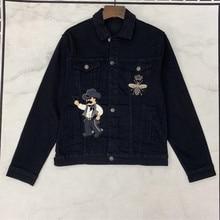 Europe&America Men/womens black denim jackets high quality embroidery B035