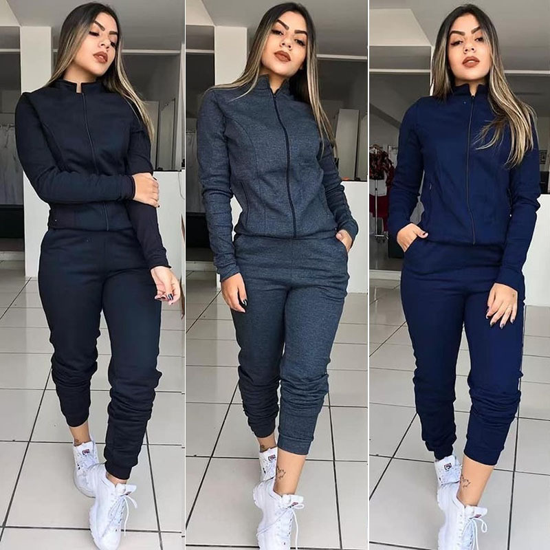 WHOHOLL 2019 Solid Color Women Tracksuit Set Autumn Winter Long Sleeve 2 Piece Set Gym Female Warm Clothes