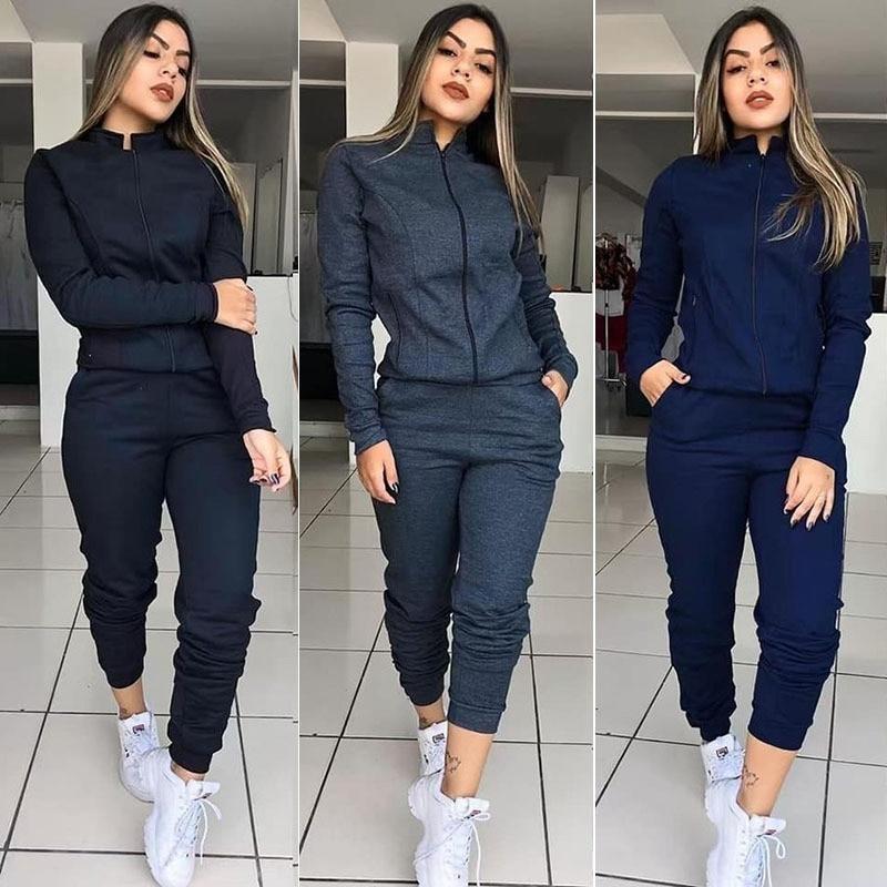 WHOHOLL 2019 Solid Color Women Tracksuit Set Autumn Winter Long Sleeve 2 Piece Set Gym Female Warm Clothes