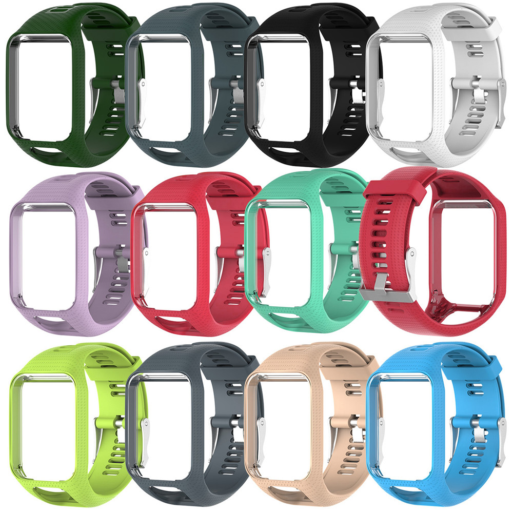 TPE Watchband Strap For TOMTOM Runner 2 3 Spark / 3 Glfer 2 Adventurer GPS Watch 11 Colors Replacement Watchbands