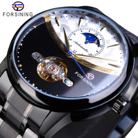 Forsining Vintage Mechanical Watch Men Automatic Black Tourbillon Moon Phase Stainless Steel Band Business Watches Clock Relogio|Mechanical Watches|Watches -
