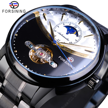все цены на Forsining Vintage Mechanical Watch Men Automatic Black Tourbillon Moon Phase Stainless Steel Band Business Watches Clock Relogio онлайн