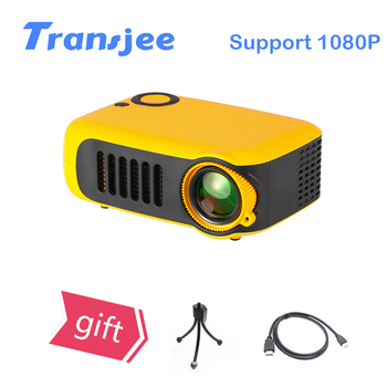 TRANSJEE Mini Portable Projector 1000 lumens Support 1080P SD Card USB LCD 50000 Hours Lamp Life Home Theater Video Projector