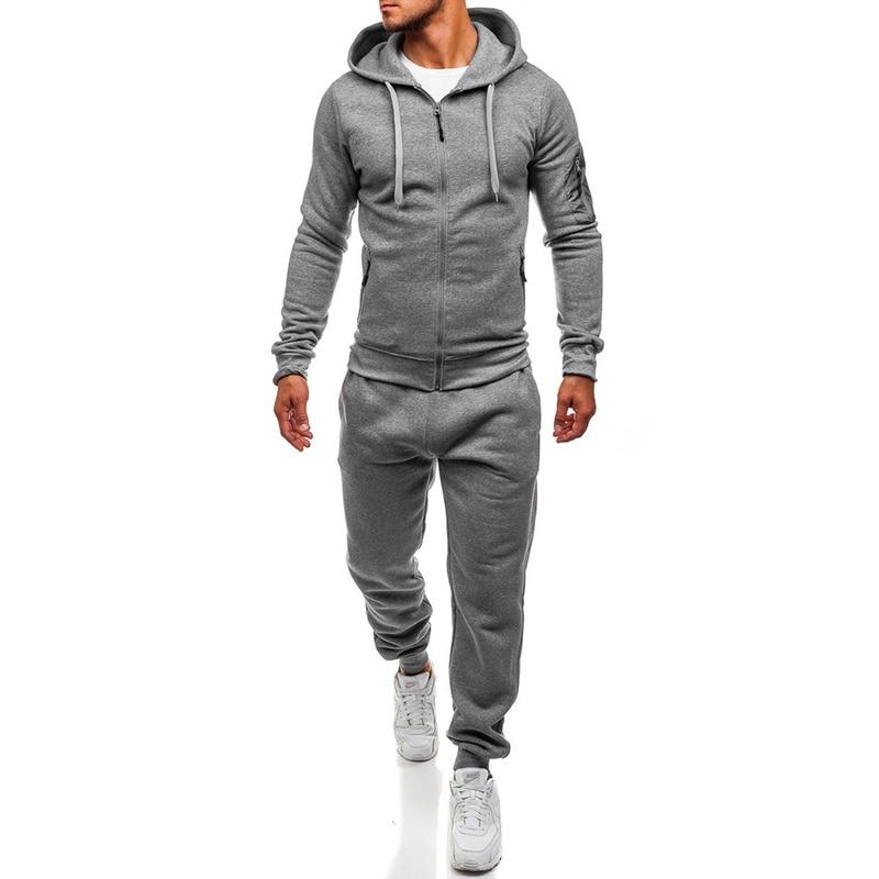 ZOGAA Men Hoodies Sport Suit Fall / Winter Male Casual Sportswear Tracksuit Solid Sweatshirt&Pants High Street Casual Sweatsuit