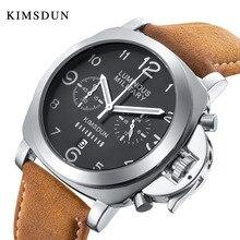 KIMSDUN Luxury Brand Mens Timing MultiFunction Quartz Watch Silver Black Male Le