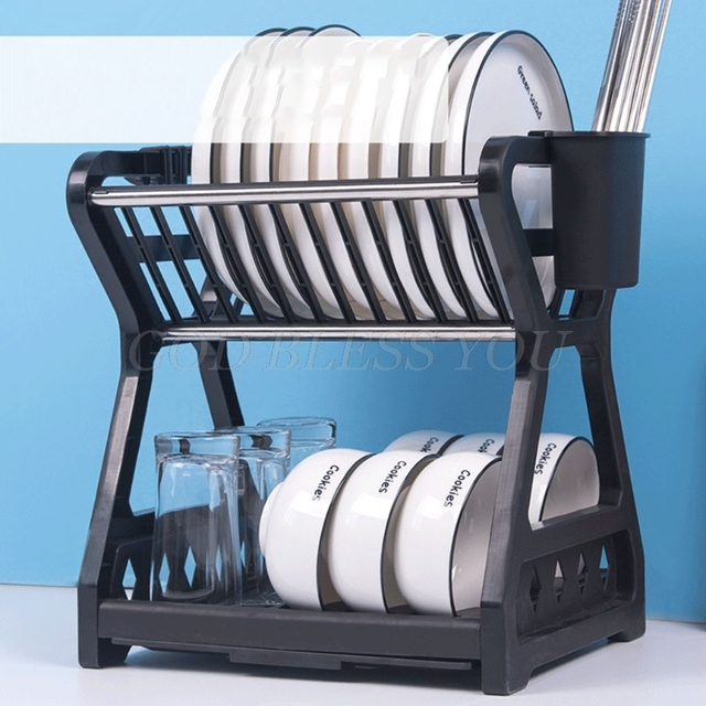 2021 New Double-layer Kitchen Dish Bowl Draining Storage Rack with Chopstick Cage Household Tableware Organizer Tray Box Basket 3