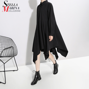 Image 1 - New 2019 Women Long Sleeve Autumn Fashion Shirt Dress Solid Black Asymmetrical Ladies Stylish Casual Dresses Robe Femme 5510