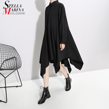 Nieuwe 2019 Vrouwen Lange Mouw Herfst Mode Shirt Jurk Solid Black Asymmetrische Dames Stijlvolle Casual Jurken Robe Femme 5510