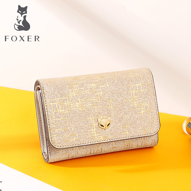 Foxer Lady Fashion Money Wallet Women Chic Small Coin Pocket Female Luxury Split Leather Money Purse Shine Multi-function Wallet