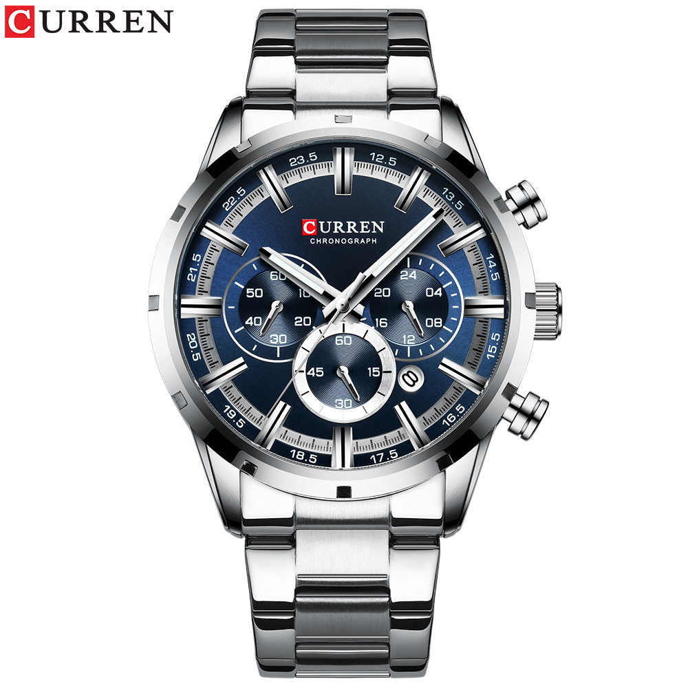 CURREN2020 New Mens Fashion Steel Band Business Men's Luminous Hand Watch Sports Chronograph Watch  Waterproof Six-Hand Quartz