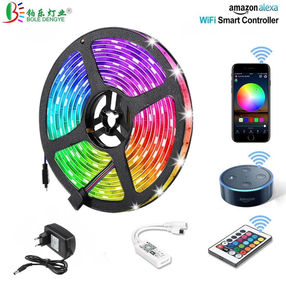 LED Strip Lights DC 12V Flexible RGB Diode Tape 5M 10M 15M SMD 5050 Color Changing Ribbon Light WiFi Music 44Key Kit+12V Power