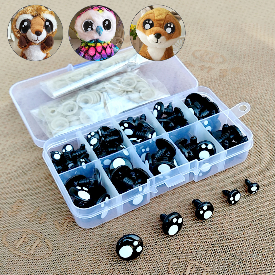 100pcs 8/10/12mm Black Eyes For Toys Cartoon Safety Eyes For Dolls Making Animal Amigurumi Bear Craft Stuffed Toys Accessories