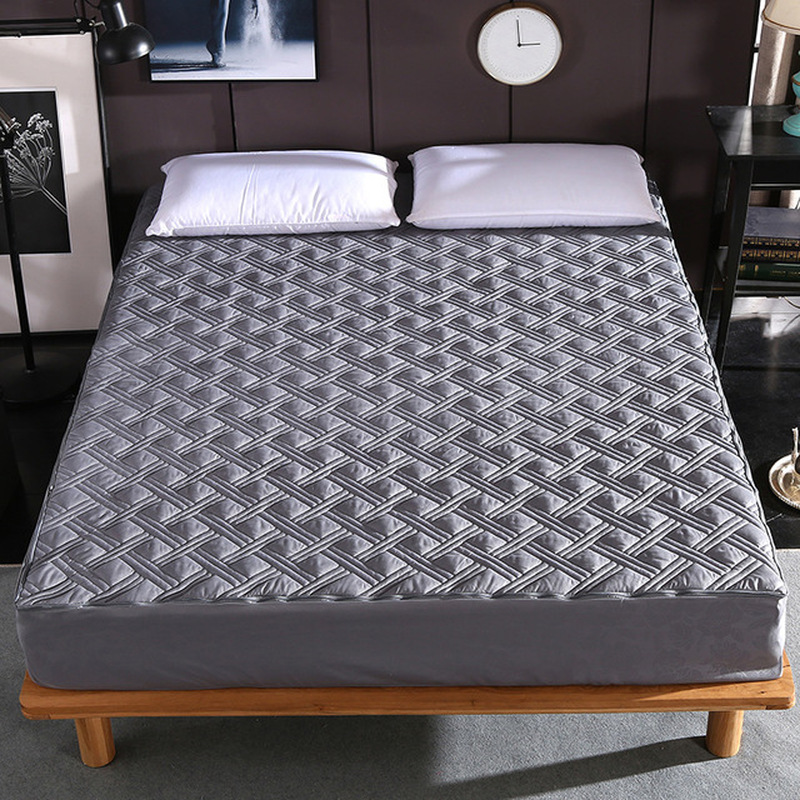 Six Sides All Inclusive Quilted Mattress Cover Soft Fiber Topper Pad Plain Solid Color Bed Mattress Protector Anti Dust Mite