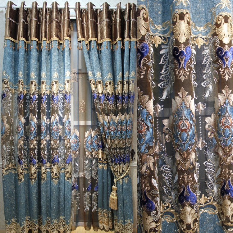 FYFUYOUFY European Style Hollow Out Embroidery Curtains Imitated Silk Cloth Curtain Luxurious Court Embroidery Voile Curtain