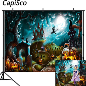 Image 1 - Capisco Foto Achtergrond Halloween Kasteel Fotografieachtergrond Heks Kraaien Pompoen Maan Begraafplaats Cartoon Photostudio Props