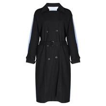English Wind Stripes Contrast Color Womens Windbreaker 2019 New Lapel Long Sleeve Loose Lace Casual Coat Women
