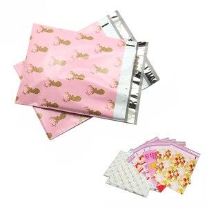 Bolsa de plástico tipo sobre con estampado de alce y lazo de Navidad para envío exprés, paquete logístico, regalo de ropa