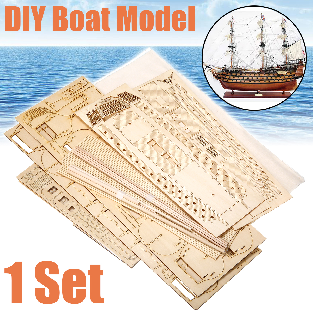 1 Set DIY Handmade Assembly Ship Wooden Sailing Boat Model Kit Ship Handmade Assembly Decoration Gift For Children