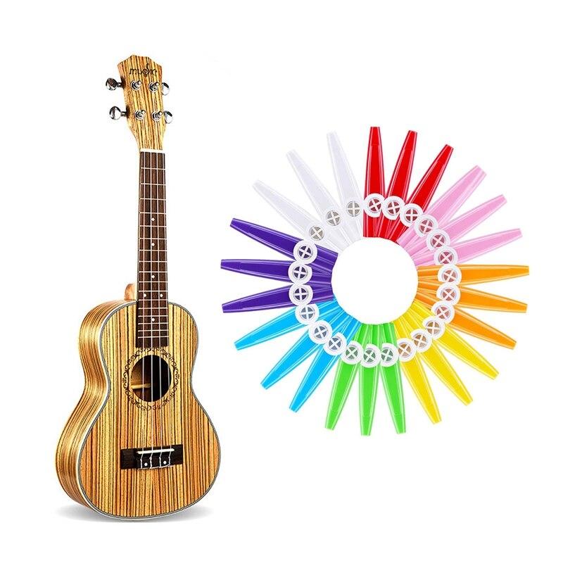 25 Pcs Musical Instrument: 24 Pcs Plastic Kazoos 8 Colorful Kazoo Musical Instrument & 1 Pcs Tenor Ukulele 26 Inch 18 Frets 4 St