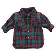 Autumn Boys Blouse Shirt Baby Boys Clothes Men Shirts Long Sleeve Plaid Print Shirts Kids Tops Tees Shirts Casual Blouse Spring