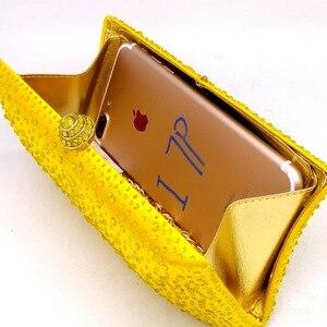 Image 5 - 부티크 드 FGG 우아한 여성 노란색 저녁 지갑과 핸드백 웨딩 파티 크리스탈 클러치 백 라인 석 가방