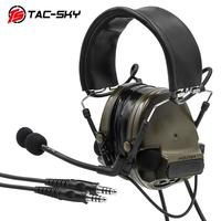 outdoor sports TAC-SKY COMTAC III Silicone Earmuffs Double Pass Edition Outdoor Hunting Sports Noise Reduction Pickup Tactical Headset - FG (2)