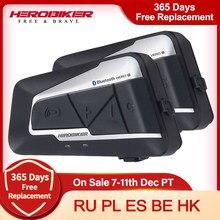 HEROBIKER 2 Sets 1200M BT Motorrad Helm Intercom Wasserdichte Drahtlose Bluetooth Moto Headset Sprech FM Radio für 2 Fahrten